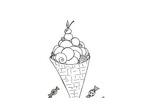ice cream and hard candies. sketch