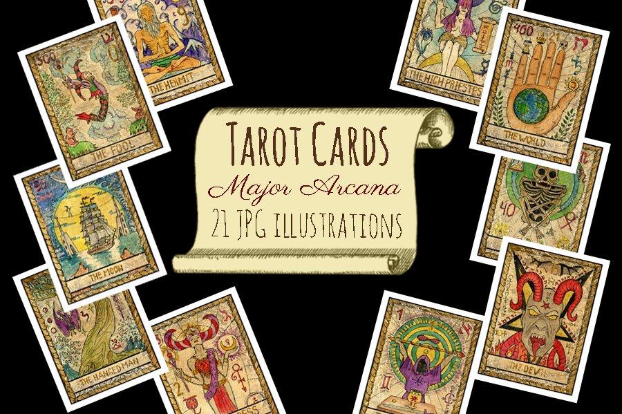 old tarot cards illustrations creative market. Black Bedroom Furniture Sets. Home Design Ideas