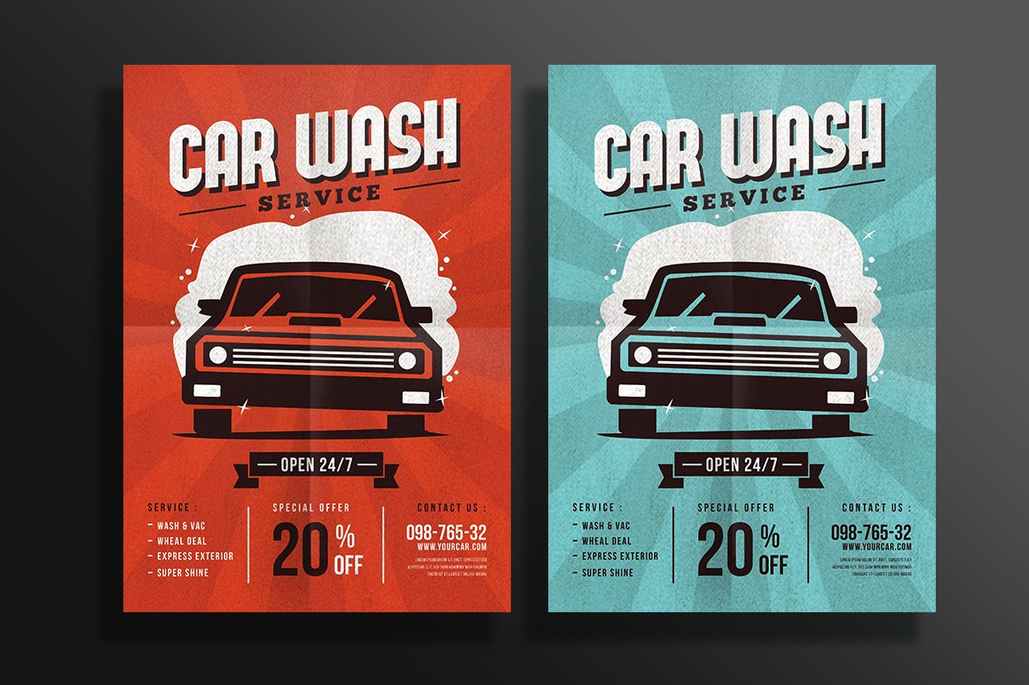 car wash poster template free - car wash flyer flyer templates creative market