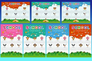 School Timetable with animal head