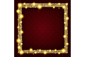 6 Square gold frame with lights