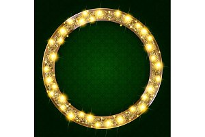 5 Round gold frame with lights