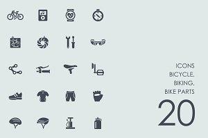 Bicycle, biking, bike parts icons