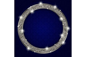 Silver round frame with lights