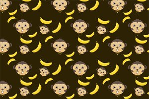monkey and banana seamless pattern