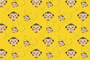 monkey and banana seamless pattern