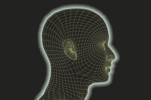 futuristic human head