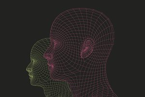 wireframe human heads