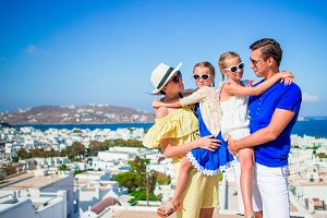 Portrait of family on vacation in Mykonos
