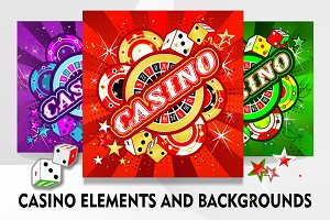 Casino elements and backgrounds