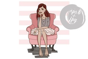 Fashion girl sitting in pink chair.