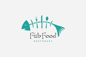 Fish Food Restaurant Logo