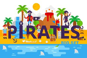 The big set of pirate illustrations