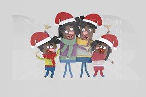 3d illustration. Family toasting.