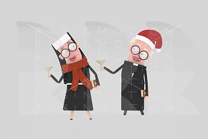 3d illustration. Nun & Priest  Xmas.