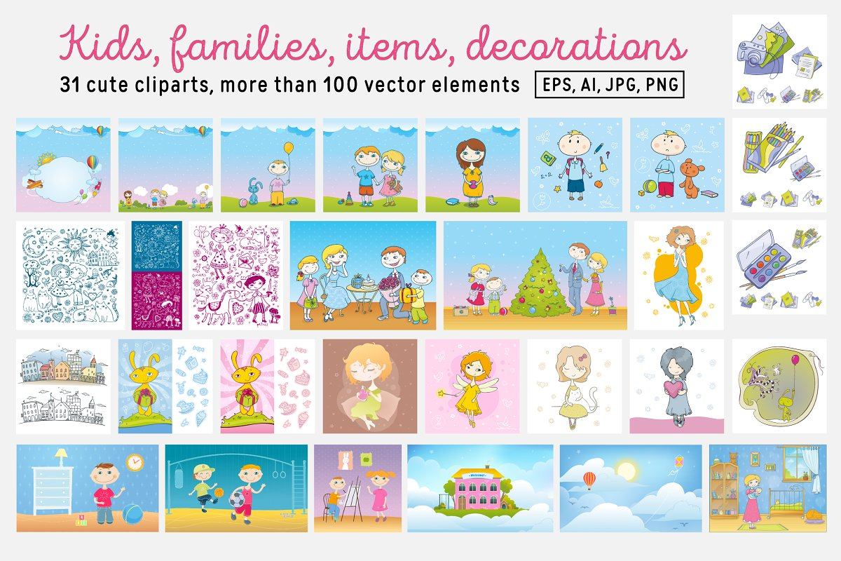 Kids and Families vector art in Illustrations - product preview 1