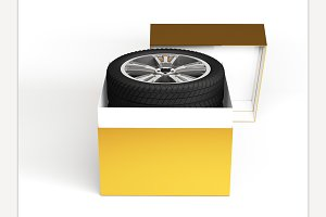 Open Box with Tires