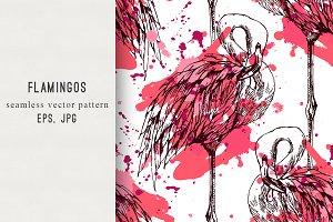 Flamingo,watercolor splashes pattern