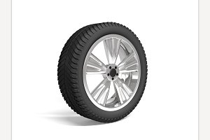 Wheel white. 3d rendering