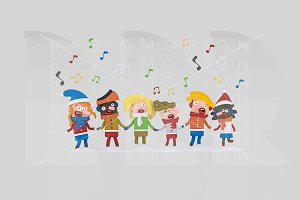 3d illustration. Kids Singing.