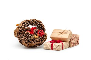 Рine cones and Christmas gifts