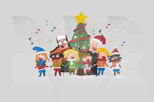 3d illustration. Xmas Tree songs