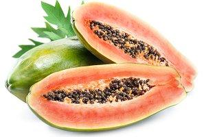 Papaya fruit isolated on a white