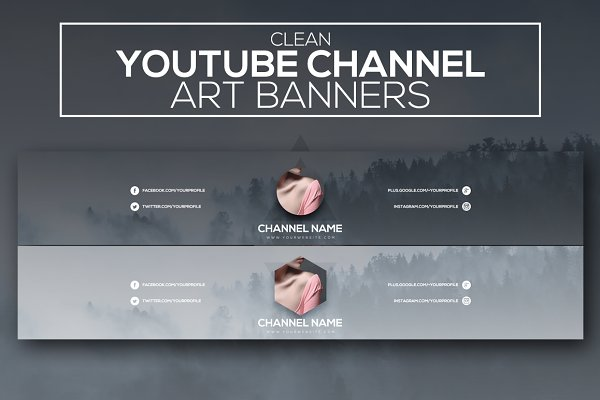 YouTube Templates: RussGFX - Clean Youtube Channel Art Banners