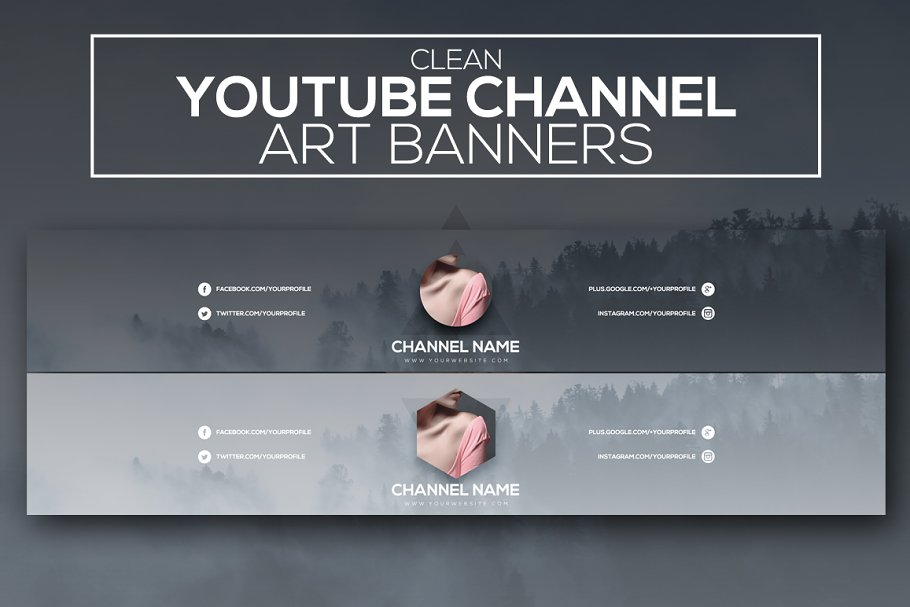 67eb00d5464 Clean Youtube Channel Art Banners ~ YouTube Templates ~ Creative Market