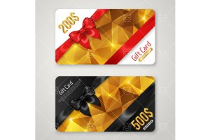 Gift cards with diagonal bow