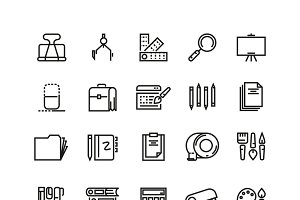 Office stationery line vector icons