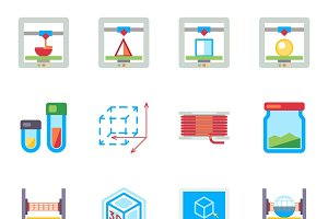 Printing 3D flat vector icons set