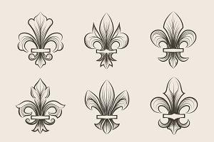 Engraving fleur de lis icons set