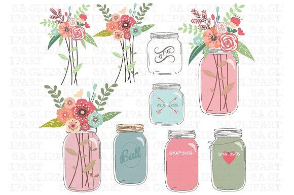 Wedding Mason Jar Clipart Illustrations Creative Market