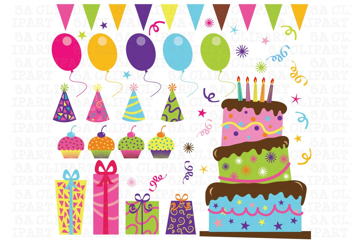 Birthday Party Clip Art Illustrations Creative Market