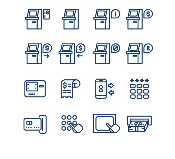 Atm Terminal Thin Line Icons
