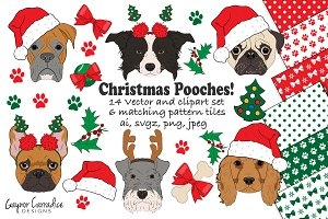 Christmas dogs vector & clipart set