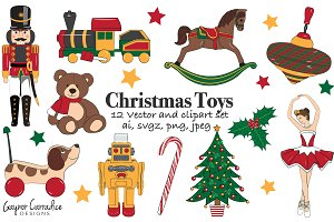 Christmas toys vector set & clipart