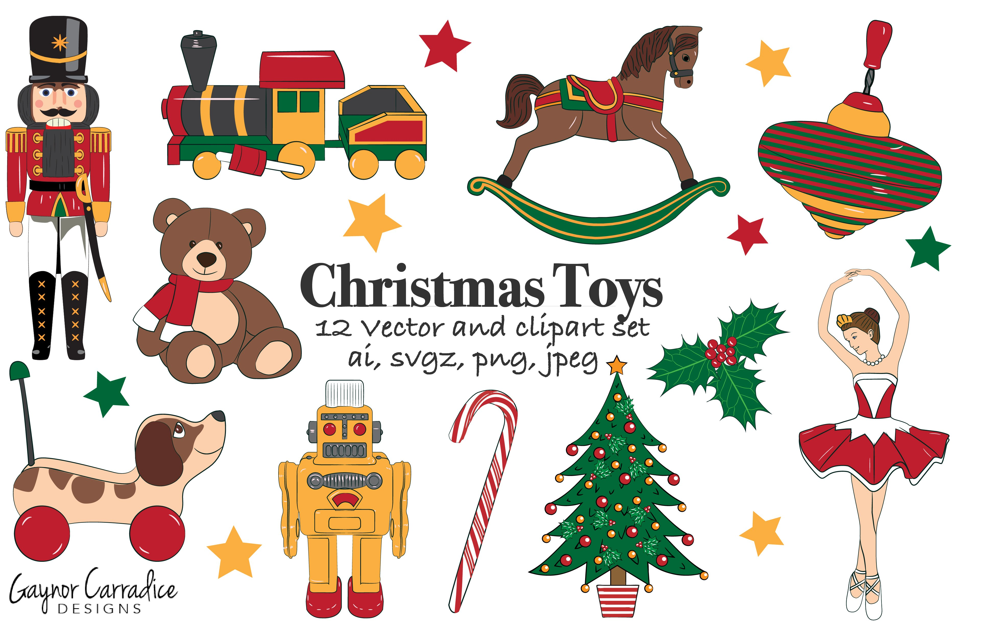 christmas toys vector set clipart illustrations creative market - Christmas Toys