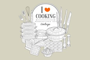 Cooking Utensils Vintage Vector