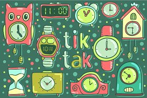Tik tak. Vector clock illustrations.