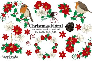 Christmas flowers & birds vector set
