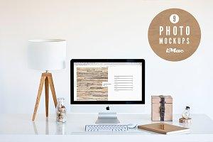 ★ wood ★ 9 iMac photo mockups