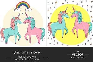 Cute vector unicorn couple in love