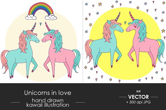 Cute vector unicorn couple in love