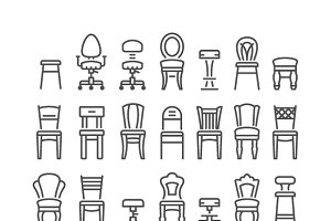 Set line icons of chair
