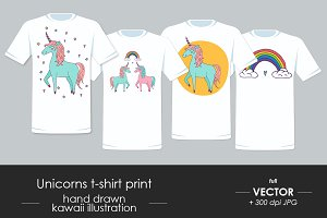 T-shirt prints with cute unicorns