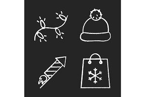 Christmas and New Year icons. Vector