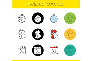 New Year. 12 icons. Vector