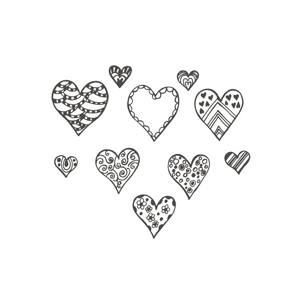 hearts in sketch style